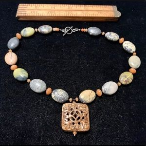 Colorful stone beaded necklace carved pendant